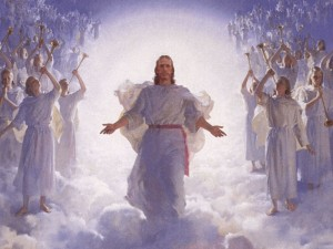 Jesus Christ returns in glory surrounded by angels