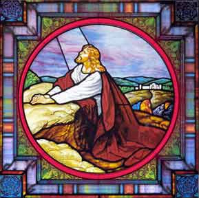 Stained Glass of Jesus Praying