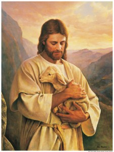 Jesus Christ cradling a lamb